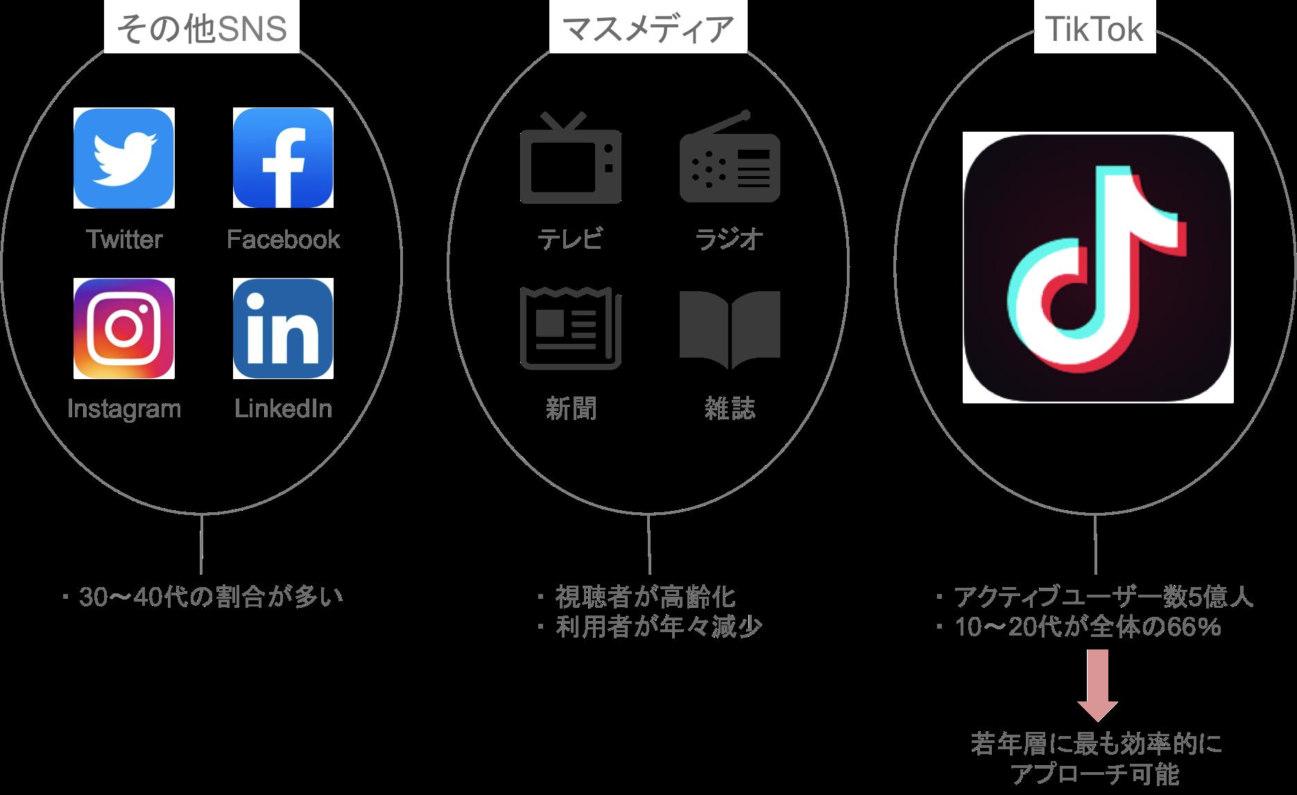 「TikTok」と「その他SNS・マスメディア」のユーザーの比較