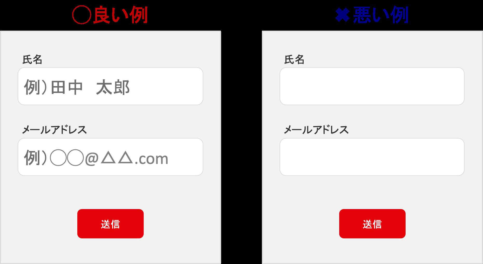 入力フォーム内の入力ボックスの中に記入例を記載するデザイン例
