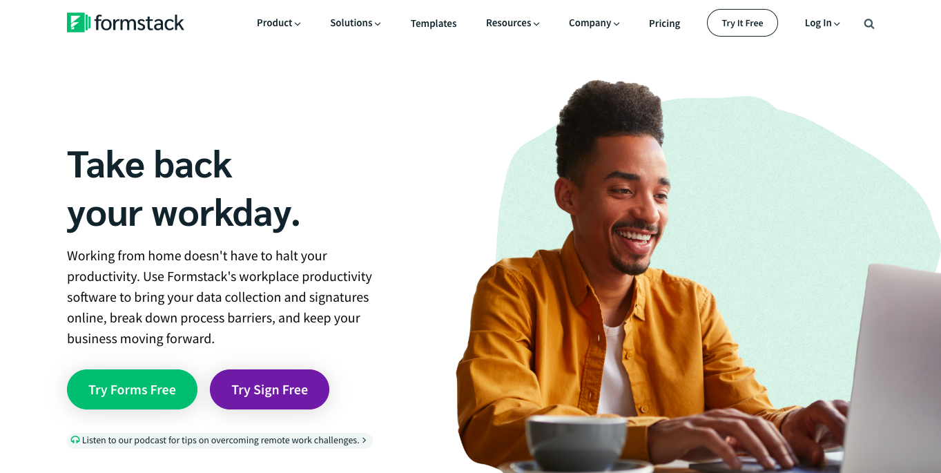 入力フォーム作成ツール「formstack」の公式サイトのトップページ