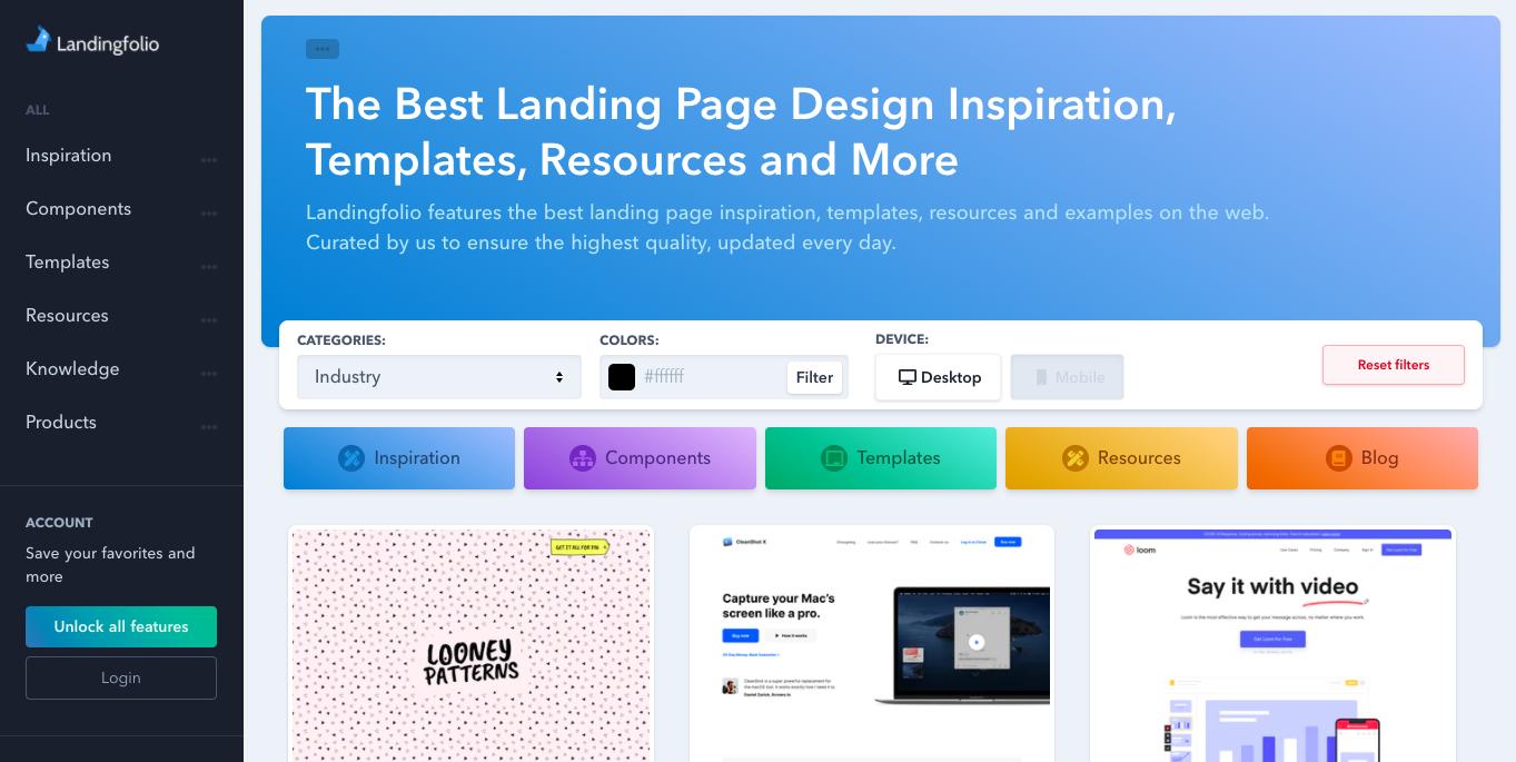 ランディングページ(LP)デザインのまとめサイト「Landingfolio」のトップページ