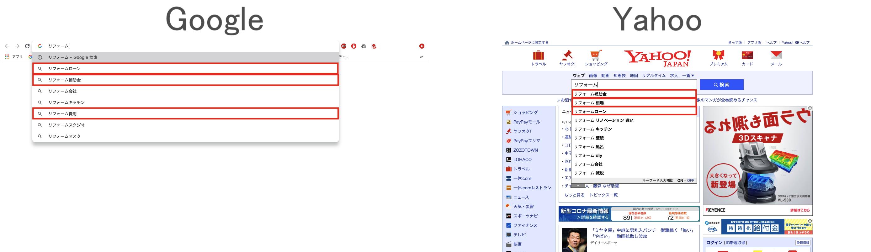 「リフォーム」と打ち込んだときのGoogleとYahooの共通の関連キーワード
